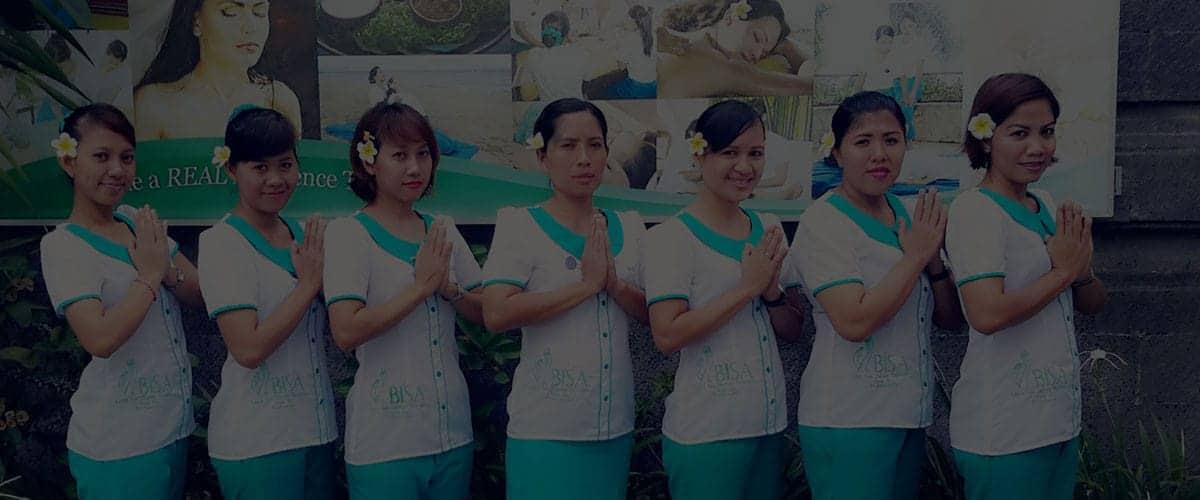 Seven Bali BISA tutors in front of entrance signe