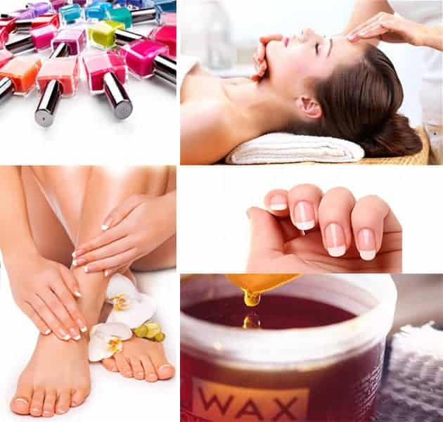 Nail polish bottles, manicured hands and feet, bowl of natural wax and light pressure to the head by therapist