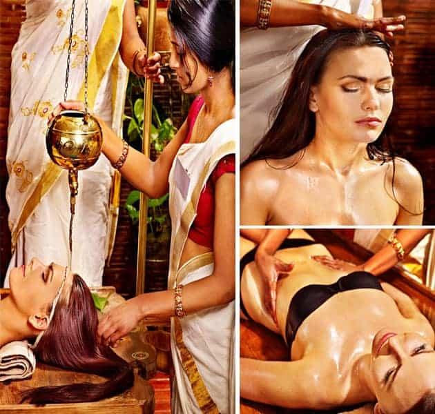 Ayurveda customers receiving Shirodara, Indian Head Massage and Abhyanaga Body Massage
