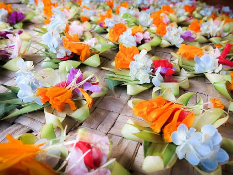 Balinese Offerings with Colorful FLowers