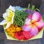 Balinese Offering of Tropical Flowers in Basket