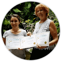 Adriana and penny on graduation day. She took Balinese Massage, Facial care for men and pregnancy massage.