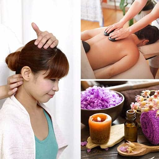 Holistic Therapies collage of three images for holistic massage, Indian Head Massage and Aromatherapy