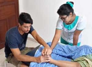 Male Spa Therapist - Learning Foot Reflexology