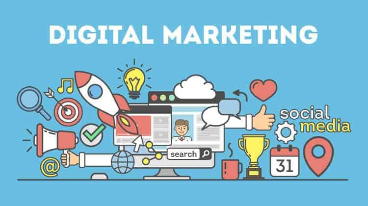 spa business with social and digital marketing - mixture of different